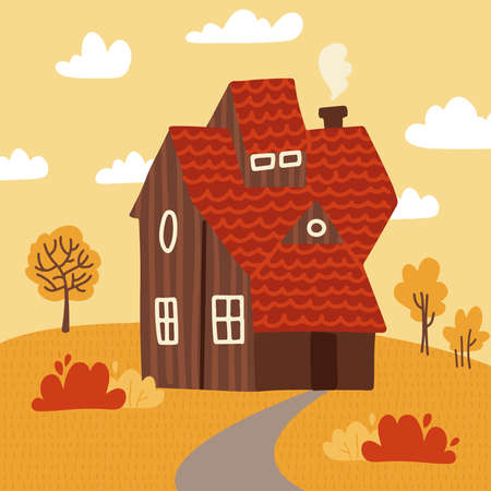 Autumn Landscape with Wooden House, Tree, bush and footpath. Flat vector illustration Design Style.