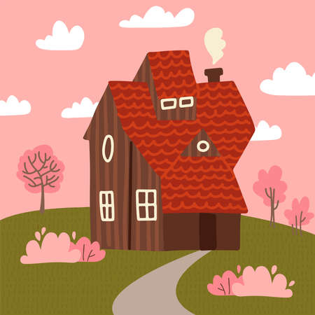 Cozy fair weather spring landscape with small country wooden house and blooming pink trees on the green grass hills. Warm spring background in cartoon style