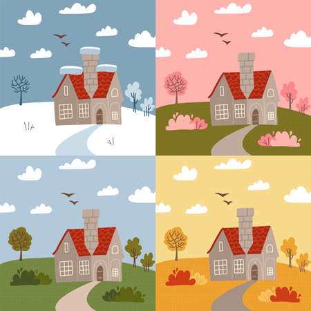 Stone house in different seasons - winter, spring, summer, autumn. Set of different parts of the year, weather types. Flat vector illustration.