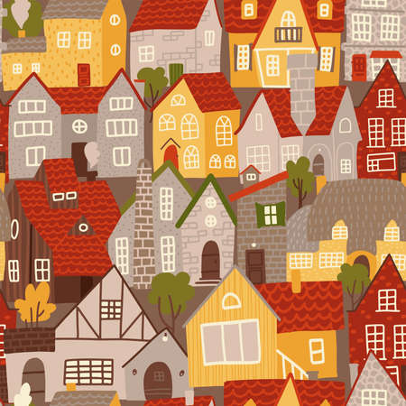 Seamless pattern of colorful buildings in flat cartoon style. Vintage urban rear facades with tiled roofs. Hand drawn vector illustration. Ilustração