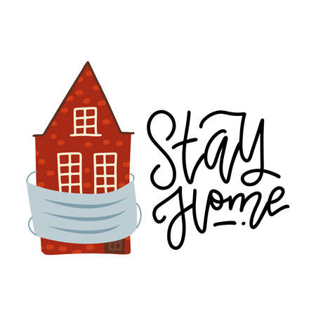 Stay home - lettring quote concept. Old house waering medical mask. Quarantine. prevention. Vector flat illustration. Pandemic medical concept. Dangerous virus. Illusztráció