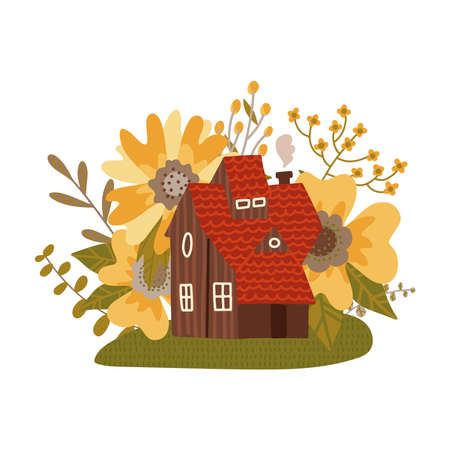 Fabulous red roof house with a small tower among the big summer flowers. Vector flat hand drawn illustration on white background. Illusztráció