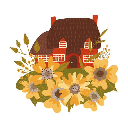 Small old house with thatched roof among huge flowers and leaves. Vector flat illustration on white background.