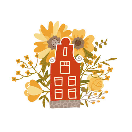 Netherlands traditional small house on the colorful big flowers background. Flat style vector illustration. Tour booklet cover, postcard design, souvenir card for tourist attractions.