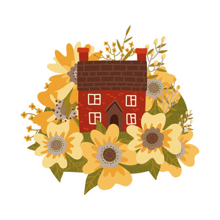 Cute old houses among huge yellow spring wildflowers. Lovely cartoon building illustrationin in flat vector style. Retro isolated concept on white background.