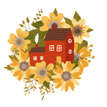 European traditional house among huge plants and wildflowers, yellow flower in a flat vector style. hand drawn isolated illustration.