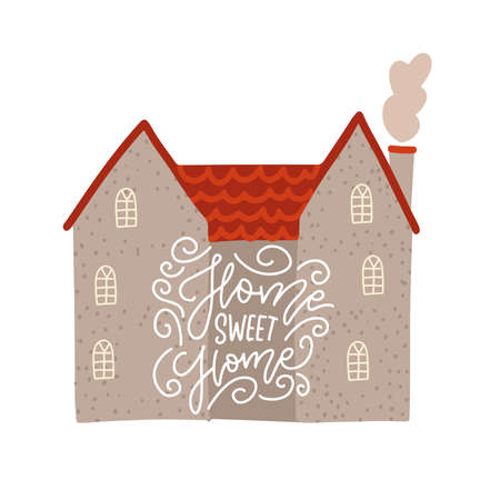 Gray brick house with lettering text on facade. Traditional building. Cute bright illustration. European street. home Sweet home - hand written vector inscription.