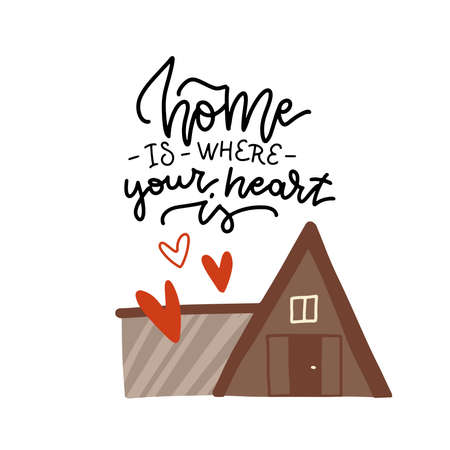 Lettering poster - Home is where your heart is. Vector illustration of eco wooden modern house with hearts. Flat vector design.