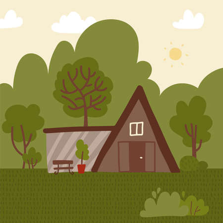 Eco-house among green trees . Architecture concept. Cartoon design of residential construction with glass terrace, forest in back yard. Wooden home for huntsman. Flat vector illustration. Ilustração