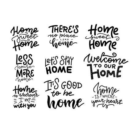 Home Sweet Home beautiful hand drawn lettering collecton. Set of house logo and label design elements. Vector linear typography.