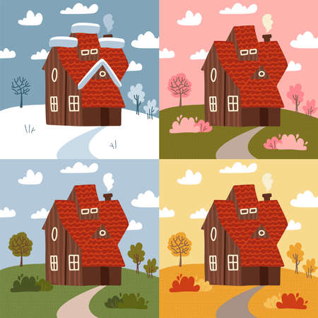 Four seasons - set of flat design style concepts. Modern images with a countryside building and nature landscapes. Summer, spring, winter, autumn parts of the year, weather types. Vector elements