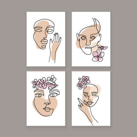 Set of Womans Face continuous one Line art. A3 poster. Abstract Contemporary collage of geometric shapes in a modern trendy style. Vector linaer Portrait of a female head Ilustração