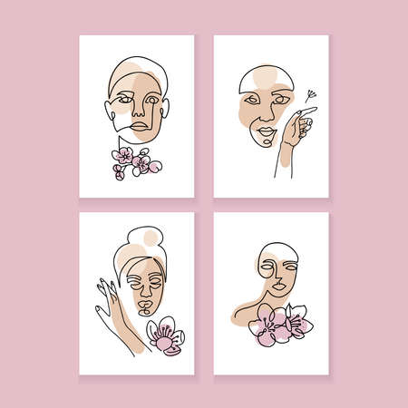 Set of a4 posters, covers for social media stories, cards, flyers, mobile apps, banners. Linear style woman face with cherry flowers continuous line illustration. One line art. Ilustração