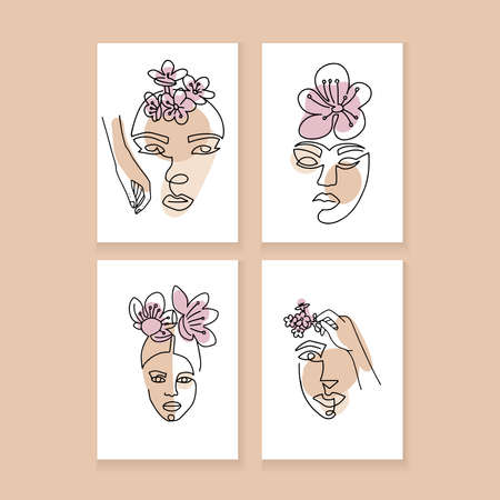 Set of Abstract minimalistic A4 posters with Women faces with Cherry Flowers. Vector fashion illustration of the female heads in trendy linear style.