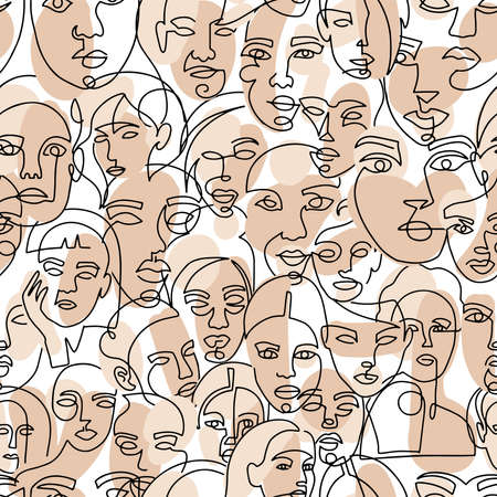 Colored vector seamless pattern. Modern abstract female faces one line art. Contemporary hand drawn outline trendy illustration. Continuous line, minimalistic concept.