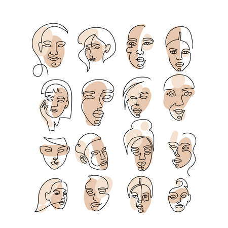 Set of abstract face one line drawing. Portrait minimalistic style. Fine one line drawing abstract female face. One line drawing abstract faces. Modern continuous line art big collection.