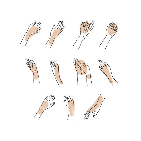 Linear Womans hand collection. Vector sketch Illustration of female hands of different gestures. Lineart in a trendy minimalist style. Line design, hand cream, nail Studio, posters, cards. Ilustração