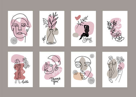 Set of fashion a4 posters. Female face drawn in one line. Silhouettes of women. Beauty concept. Templates for magazines, banners, flyers. Minimalistic graphics. Continuous line with abstract shapes.