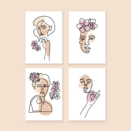Set of a4 minimalistic posters. One line drawing abstract woman face with flower in her hair. Modern continuous line art, female portrait, aesthetic contour. Vector creative collage style