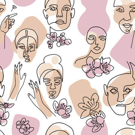 Abstract linear woman portrait seamless pattern. Female face one line drawing on minimal shapes and curved lines background. Women portraits with cherry blossom illustration for fashion design
