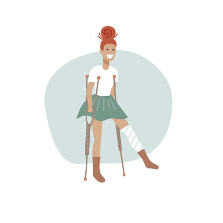 Young injured woman with a bandaged leg on crutches , full length portrait. Vector flat illustration concept.