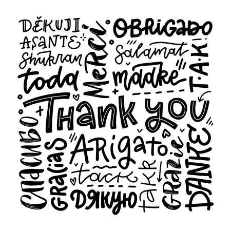 Thank you phrases in many languages. Thanks modern phrases handwritten vector calligraphy. Black ink brush paint and linear lettering collection isolated on white background.