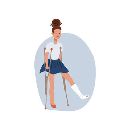 Temporarily disabled sad teenage girl with broken leg bandage cast walking using crutches. Unhappy depressed injured school teenager. Flat vector illustration isolated on white background. Ilustração