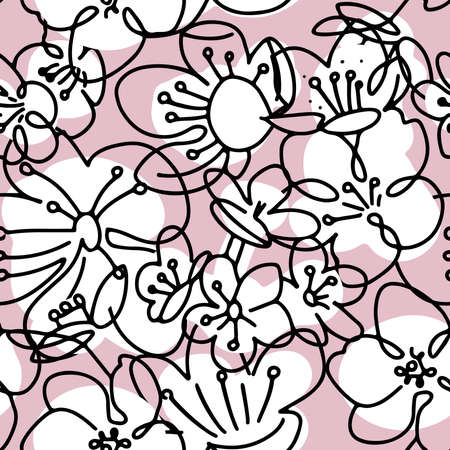 Big cherry flowers. Abstract shapes and lines seamless pattern. Floral background texture. Fabric design in black , pink and white