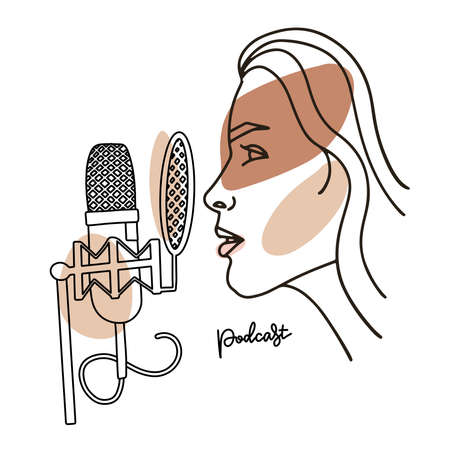 Radio host with professional mic flat vector illustration. Media hosting linear abstract drawing. Female podcaster profile speaking to microphone, broadcaster at workspace isolated character. Vector Vector Illustratie