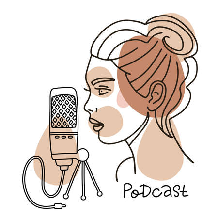 Girl speaking in mic, podcast concept. Female face in profile speaking in microphone. Vector linear trendy illustration on white background.