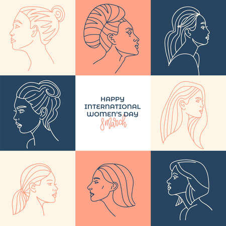 Pastel international women's day illustration for greeting card. Collection of profile portraits of women characters. Linear faces mosaic. Line hand drawn vector illustration.