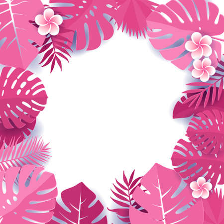 Background of pink palm leaves. Frame of tropical monstera leaves with frangipani flowers. Tropical greeting card in paper cut style. jungle with palm trees, leaf vector illustration