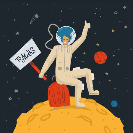 Space tourism concept. Female Astronaut on the moon surface with sign TO MARS making hitchhikers gesture. Vector flat hand drawn illustration. Dark cosmos with stars on the background.