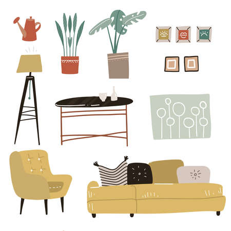 Trendy interior design elements. Modern furniture for living room - sofa, armchair, tripod, coffee table, plants and pictures. Flat hand drawn vector illustration