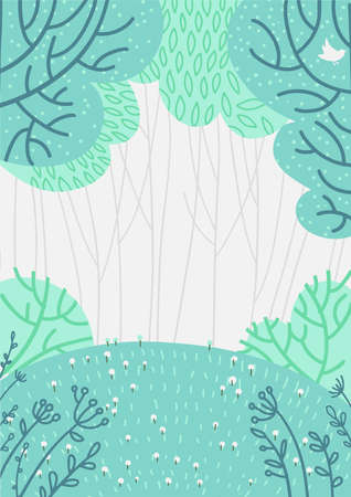 Doolde deep forest background, nature landscape with deciduous trees,green grass, flowers, bushes. Scenery view, summer or spring wood flat hand drawn vector illustration