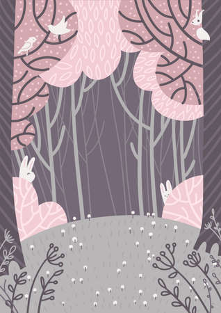 Magic spring forest landscape. A glade with flowers in the forest surrounded by pink trees. Doodle style hand drawn background. Flat vector illustration.