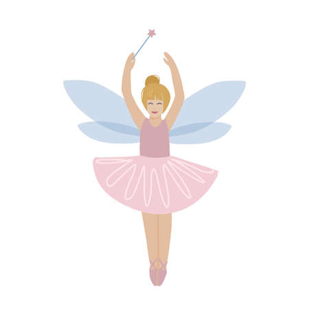 Cartoon fairy girl with magic wand flying and smiling, cute ginger child in pink and yellow fantasy outfit with wings ready to cast a spell. Isolated hand drawn flat vector illustration 일러스트