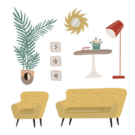 Set of modern scandi interior design elements. Armchair, table, sofa, carpet, mirror, lamp, plants and pictures. Trendy hygge home design. Flat hand drawn vector illustration