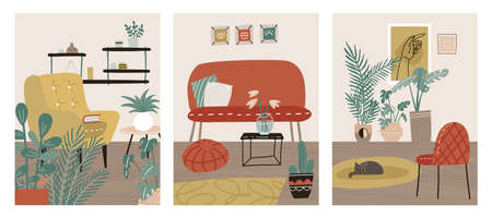 Scandinavian interior cards set. Hygge card with scandi home image. Cozy room poster with cute furniture. Trendy relax living room in house. Vector flat illustration. 일러스트