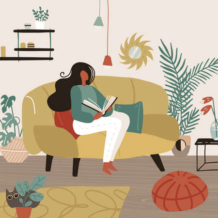 Young woman sitting on sofa in her room and reading a book. Weekend or free time spending. Feminine time concept. Girl chilling in cozy living room. Vector cartoon flat illustration.