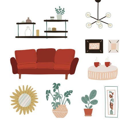 Trendy scandinavian hygge interior in boho style. Red Sofa, shelves, mirror, plants, lamp, home decorations. Cozy Interior living room or apartment furniture set. Flat vector illustration