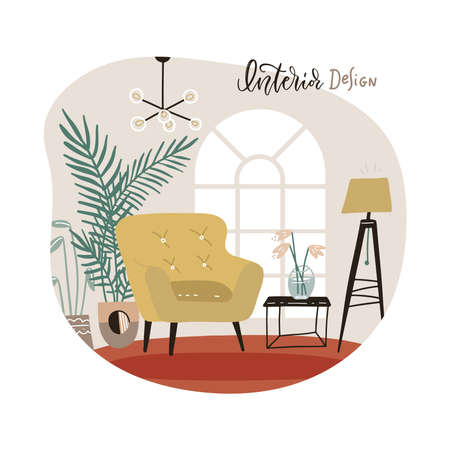 Interior of the living room with furniture. Modern armchair with mini table. Stylish appartment interior with indoor plants in scandinavian style. Flat hand drawn isolated Vector illustration. 일러스트