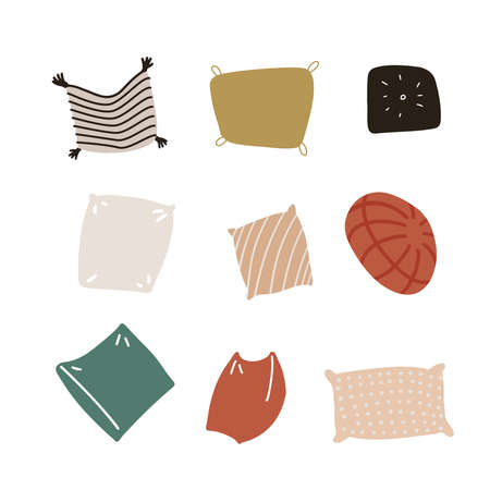 Multi colored cushions set. Home interior textile in scandinavian style. Sofa bed sleep pillows collection. Colorful various shapes design. Isolated flat hand drawn vector illustration