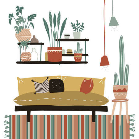 Lagom Furniture in cozy home interior with many house plants, shelf, striped carpet, comfort sofa with pillows, home decorations. Living room in Scandinavian style. Flat hand drawn vector illustration
