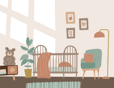 Modern comfortable baby toddler bedroom, nursery room interior. Baby crib, chair, table and plant. Wall with decorations and window light. Flat style vector illustration in pastel colors. Scandinavian style 일러스트