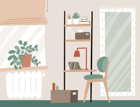 Workplace at home. Home office interior in Scandinavian style. Table shelf with laptop, books, window. Modern lagom interior in beige colors. Vector flat hand drawn illustration.