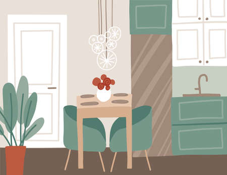 Trendy dining room interior in the apartment. Kitchen design with table, lights, chairs, fridge, vase, flowers, cupboards, cooking island and palm plant. Flat style vector illustration.