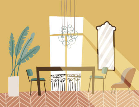 Vintage living room interior with french balcony. Elegant furniture - table, chairs, plant and mirror. Flat vector hand drawn illustration. 일러스트
