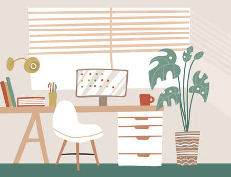 Modern Scandinavian style interior in pastel colors. Lagom comfortable workspace, cozy home office with table, chair, screen and palm houseplants. Vector iflat hand drawn llustration.