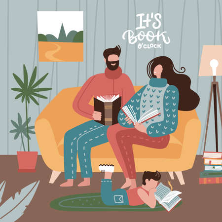 Mother and father with child sitting on sofa and reading books. Parents with son spending time at home. Cozy interior. Vector flat style illustration. its book time - lettering text. 일러스트